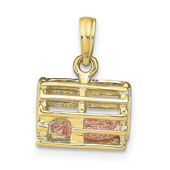 10k Rose and Yellow Gold Lobster Trap w/Moveable Lobster Pendant 10k9135