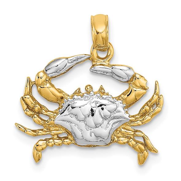 14k Yellow Gold w/Rhodium Pendant Blue Crab Pendant
