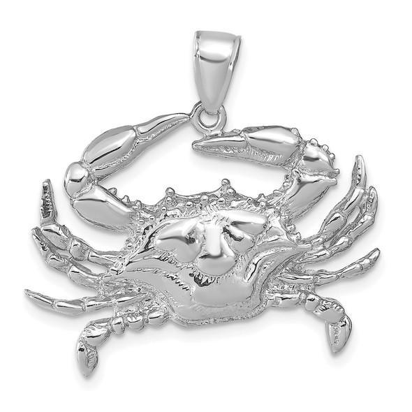 14k White Gold Blue Crab Pendant