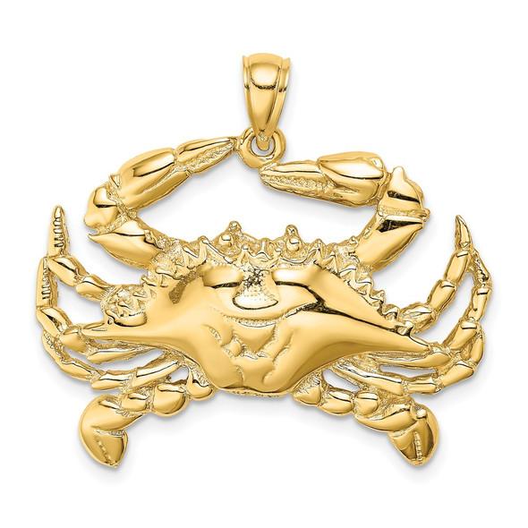 14k Yellow Gold 2-D Blue Crab Pendant K8056