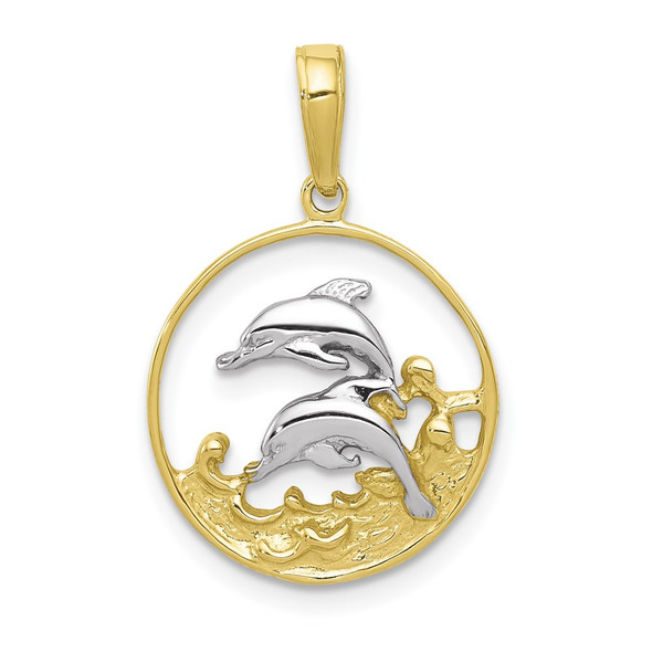 10k Yellow Gold With Rhodium-Plating Double Dolphins Pendant