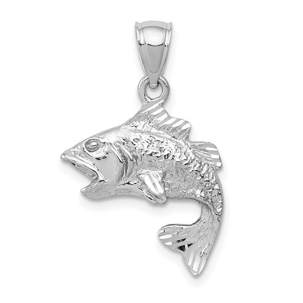 14k White Gold Polished and Textured Bass Pendant