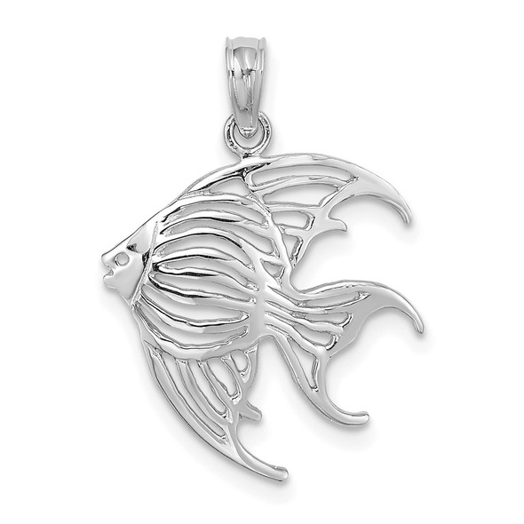 14k White Gold Cut-Out Angelfish Pendant