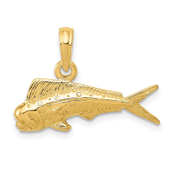 14k Yellow Gold Mahi Mahi Fish Pendant