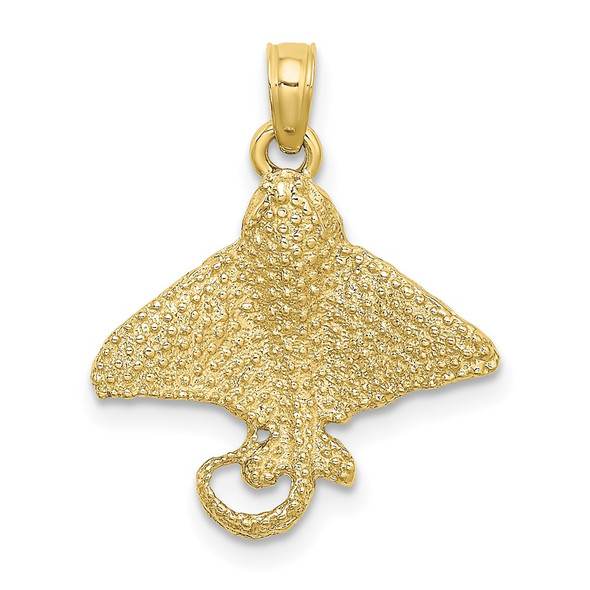 10k Yellow Gold Textured Spotted Eagle Ray Pendant