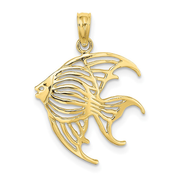 10k Yellow Gold Cut-Out Angelfish Pendant