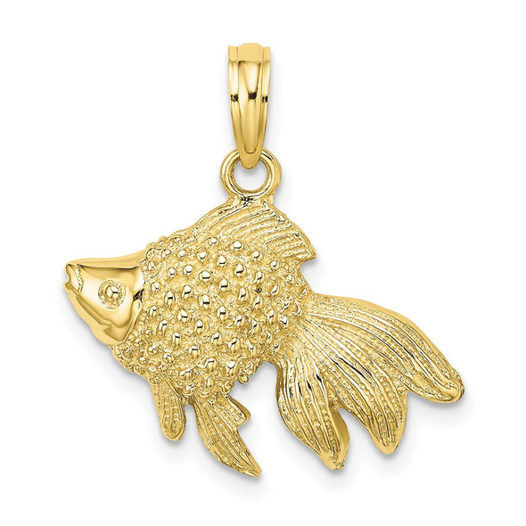 10k Yellow Gold Textured Angel Fish Pendant