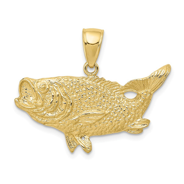 10k Yellow Gold Polished Open-Backed Bass Fish Pendant
