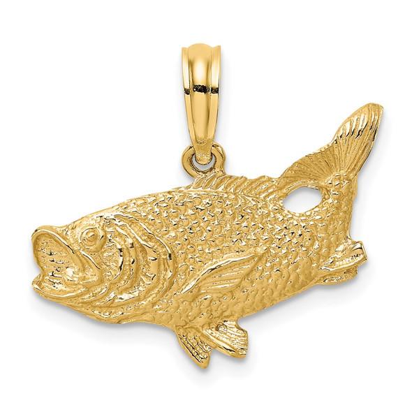 14k Yellow Gold 2-D Bass Fish w/Tail Up Pendant