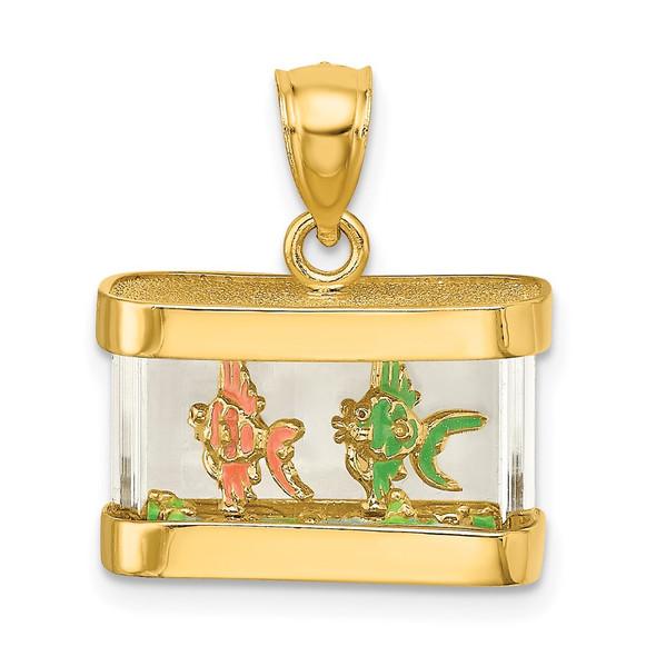 14k Yellow Gold 3-D Moveable Enamel Fish Aquarium Pendant