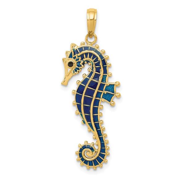 14k Yellow Gold 3-D Blue Enameled Seahorse Pendant K4179