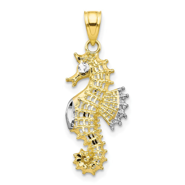 10k Yellow Gold With Rhodium-Plating Seahorse Pendant