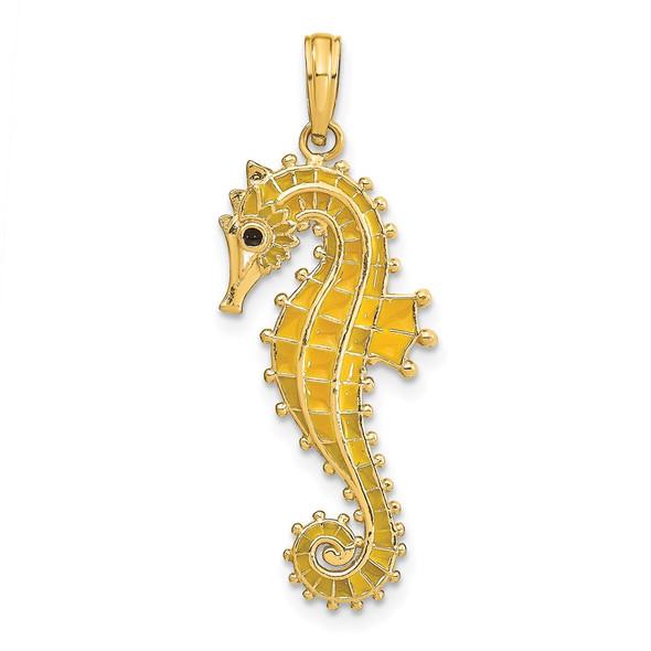 14k Yellow Gold 3-D w/Yellow Enamel Seahorse Pendant