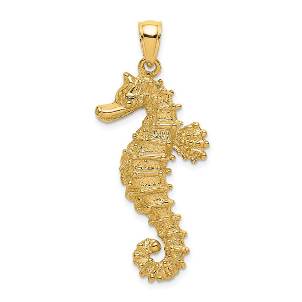14k Yellow Gold 2-D Textured Seahorse Pendant