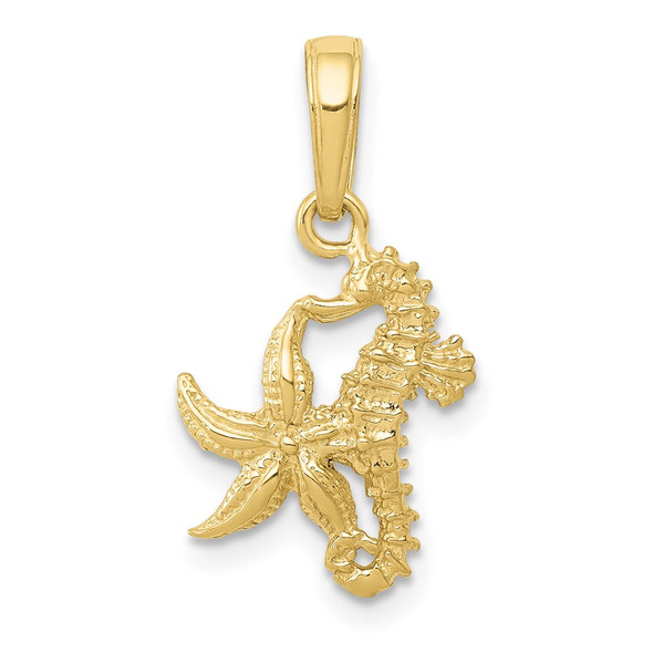 10k Yellow Gold Seahorse and Starfish Pendant