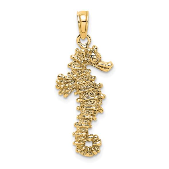 14k Yellow Gold 3D Seahorse Pendant