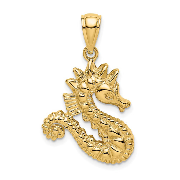 14k Yellow Gold 2-D Seahorse Pendant