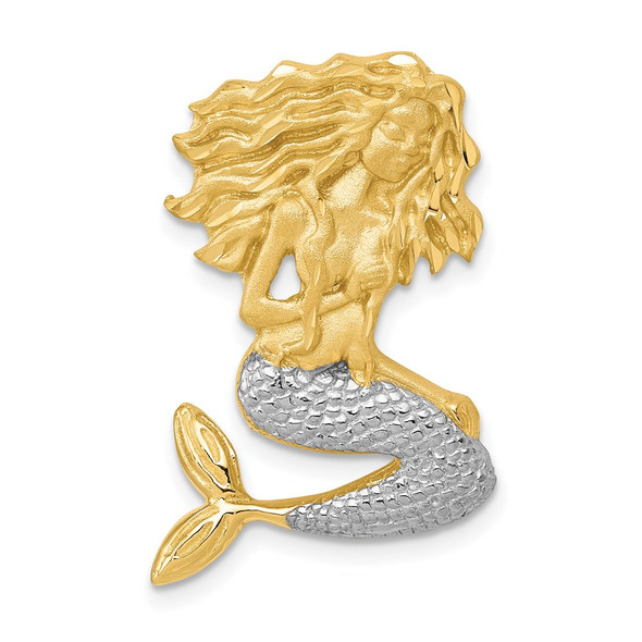 14k Gold with Rhodium-Plating Satin Shiny-Cut Mermaid Slide