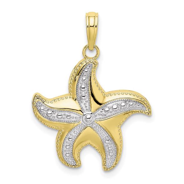 10k Yellow Gold With Rhodium-Plating Diamond-Cut Polished Starfish Pendant
