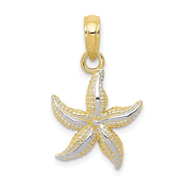 10k Yellow Gold w/Rhodium Starfish Pendant 10K2953
