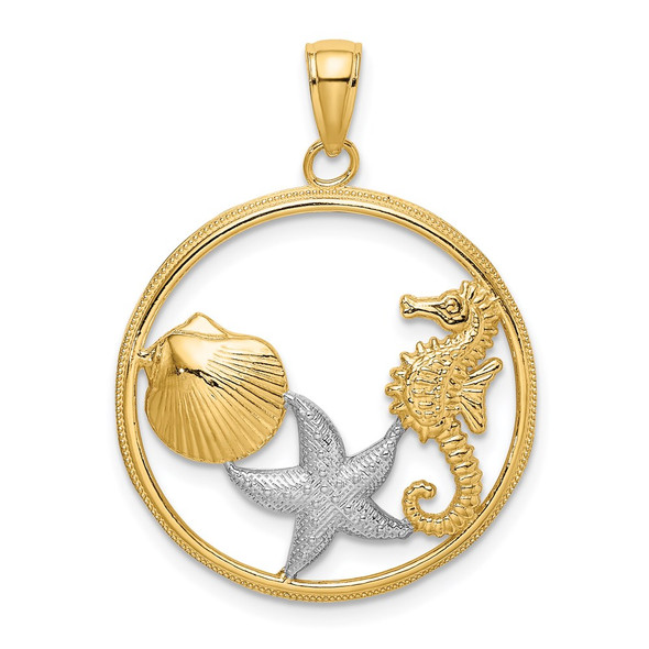 14k Gold and Rhodium Scallop, Starfish and Seahorse In Round Frame Pendant