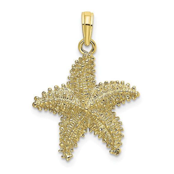 10k Yellow Gold Starfish w/Beaded Texture Pendant