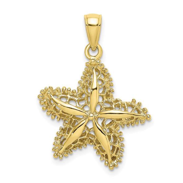 10k Yellow Gold Starfish Filigree Pendant