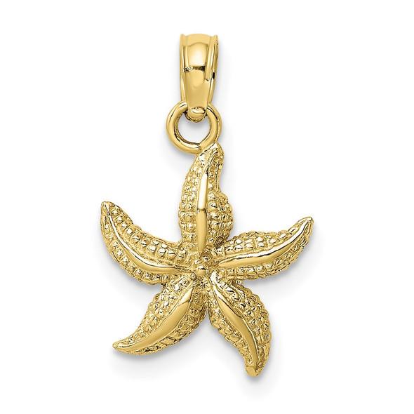 10k Yellow Gold Textured Starfish Pendant 10k7701