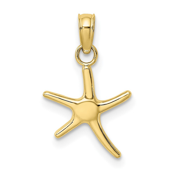 10k Yellow Gold Polished Mini Dancing Starfish w/Bail Pendant