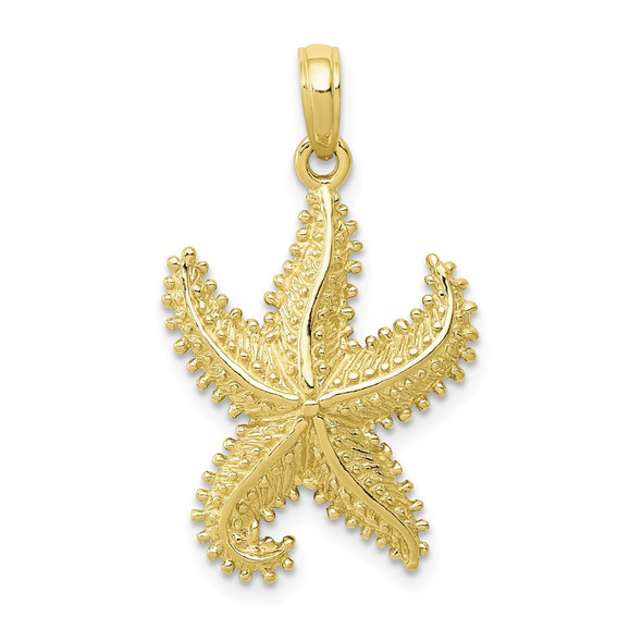 10k Yellow Gold Polished Open-Backed Starfish Pendant