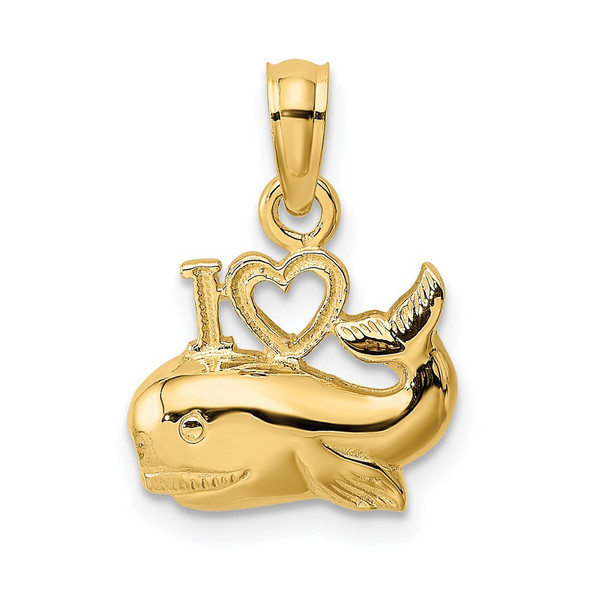 14k Yellow Gold 2-D Polished I Heart Whale Pendant