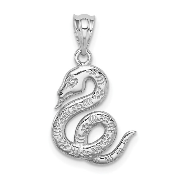14k White Gold Polished Snake Pendant
