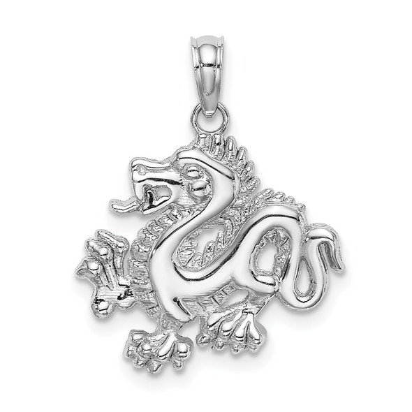 14k White Gold Small Dragon Pendant C2379W