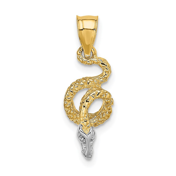 14k Yellow Gold And Rhodium Coiled Snake Pendant