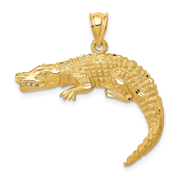 14k Yellow Gold Alligator Pendant