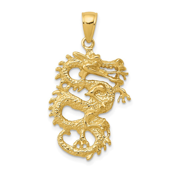 14k Yellow Gold Solid 3-D Dragon Pendant