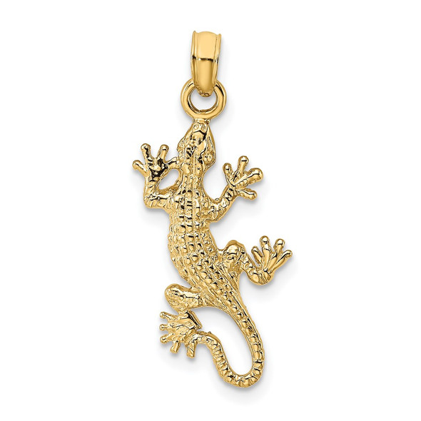 14k Yellow Gold 2-D Lizard Pendant