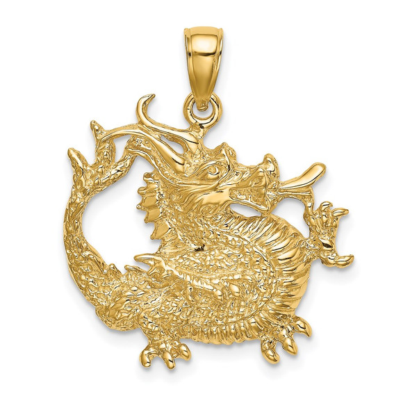 14k Yellow Gold 2-D Textured Dragon Pendant