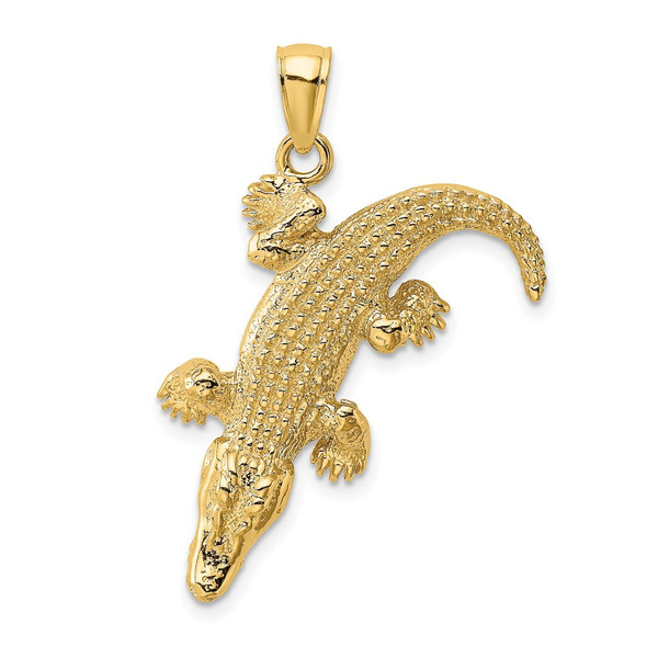 14k Yellow Gold 3-D Large Alligator w/Closed Mouth Pendant