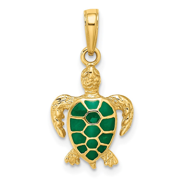 14k Yellow Gold Green Enameled Sea Turtle Pendant K3309GN