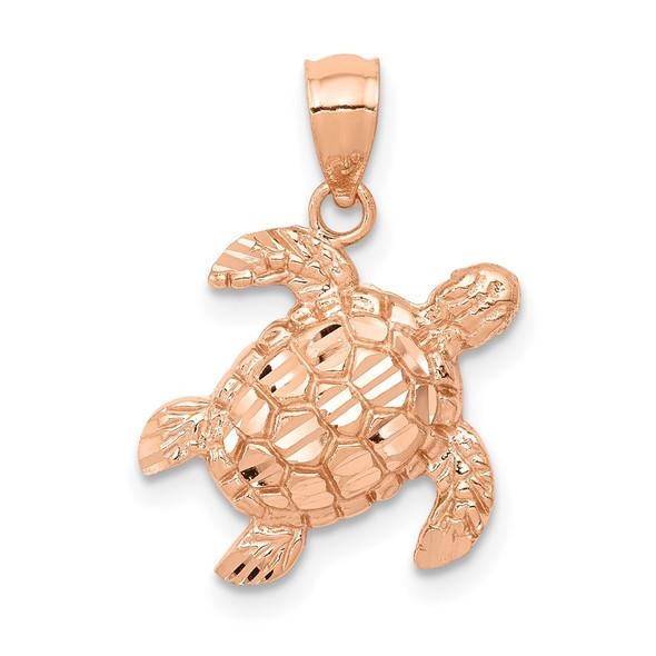 14k Rose Gold Diamond-Cut Turtle Pendant
