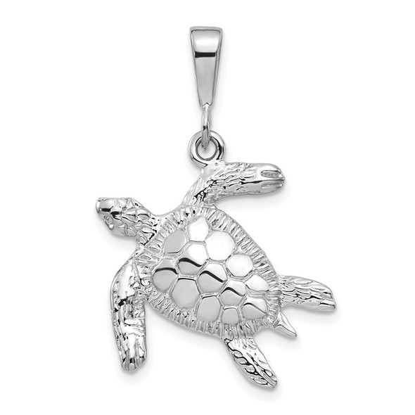 14k White Gold Solid Polished Open-Backed Sea Turtle Pendant D1404