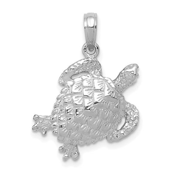14K White Gold Solid Polished Open-Backed Turtle Pendant