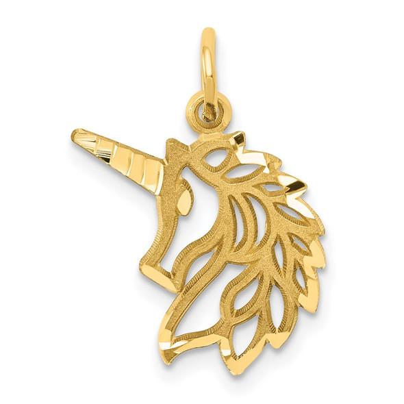 14k Yellow Gold Unicorn Head Pendant C1144