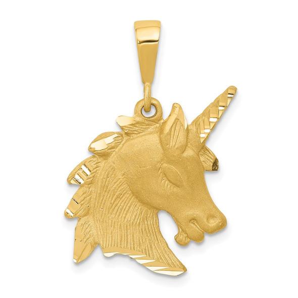 14k Yellow Gold Unicorn Head Pendant C1149