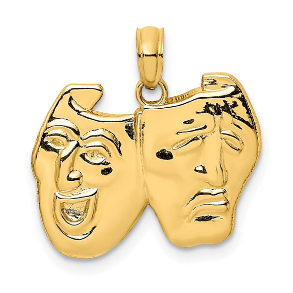 14k Yellow Gold Comedy/Tragedy Pendant