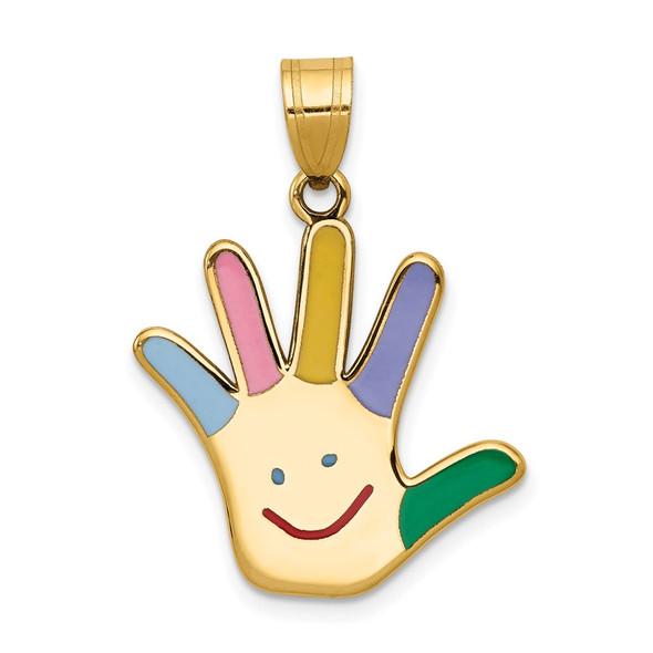 14k Yellow Gold Enameled Autism w/Happy Face Handprint Pendant