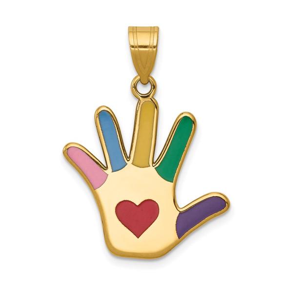 14k Yellow Gold Enameled Autism w/Heart Handprint Pendant