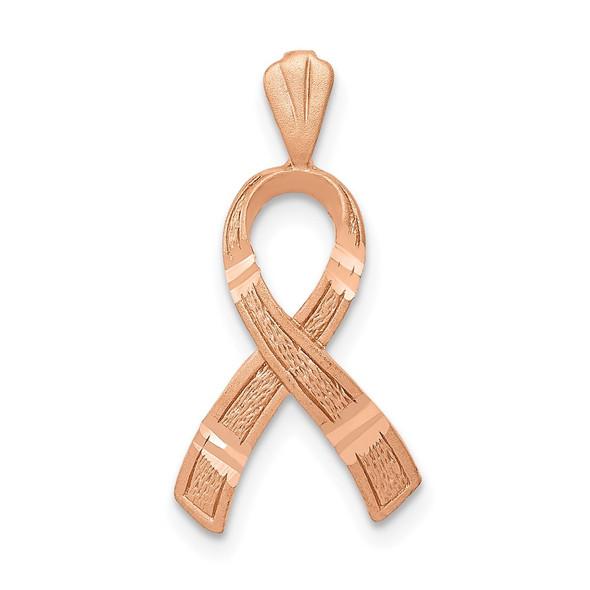 14k Rose Gold Diamond-cut Awareness Pendant C903