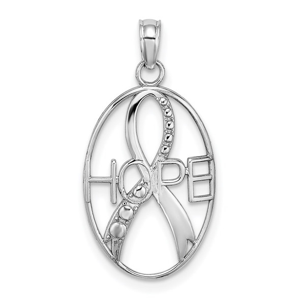 14k White Gold Textured Hope and Ribbon Pendant